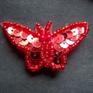 New Lot of 6 Red Sequin Bead Butterfly Pins Sew Unique Treasures And Gifts