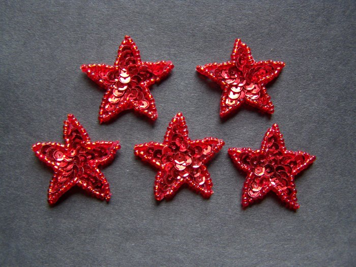 New Lot of 5 Red Sequined Beaded Star Applique 1 1/4 Inch