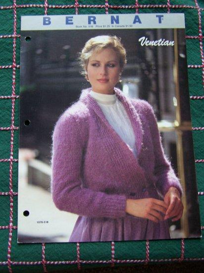 Vintage Bernat Book 518 Two Misses Knitting Patterns Shawl Collar Jacket & Pullover Sweater