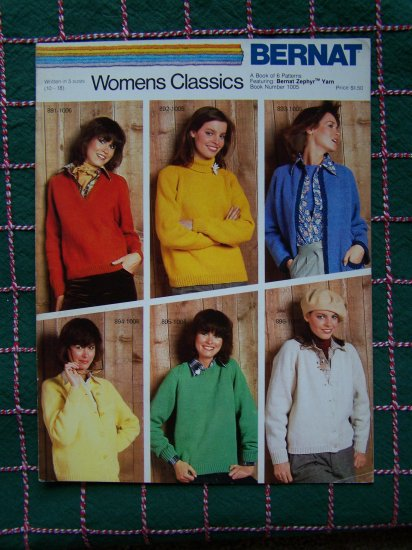 6 Vintage Classic Sweater Knitting Patterns Book 1005 Ladies Sz 10 12 14 16 18