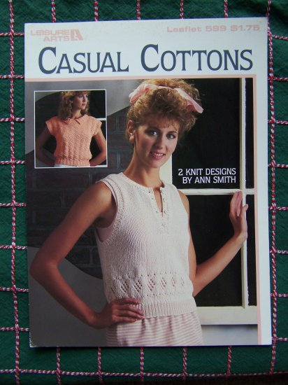 S&H 1 CENT USA Misses Knitting Patterns Cotton Casuals Summer Tops 599