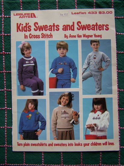 1 Cent USA S&H Retro Children's Cross Stitch Patterns Decorate Shirts Sweaters Sweats