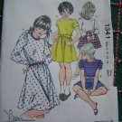 Retro Girls Sewing Pattern Puff Sleeve T Shirt Dress Gathered Skirt 8 10 12 14 KS 1341