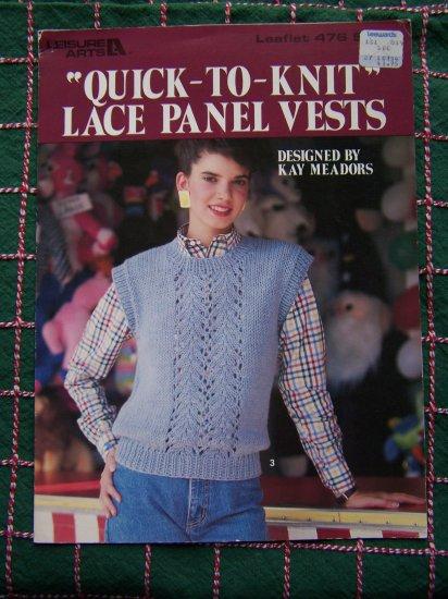 1 Cent USA S&H 3 Retro Misses Quick Knit Lace Panel Vest Knitting Patterns