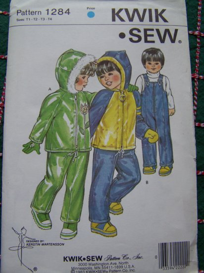 Vintage Toddlers 1 2 3 4 Snowsuit Ski Bibs Hoodie Winter Coat Sewing Pattern Kwik Sew 1284