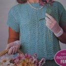 1 Cent USA S&H 2 Retro Knitting Patterns Shell Stitch Lace Eyelet Tops 1503