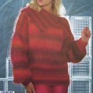 1 Cent USA S&H Vintage Womens Knitting Pattern Tunic Tops RIbbed Yoke & Split Collar S M L