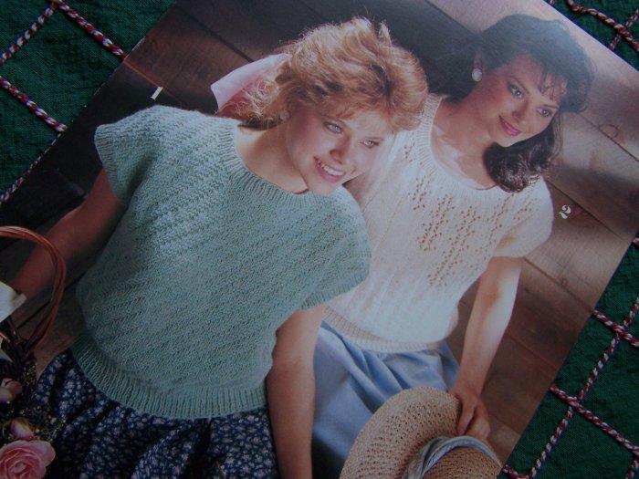 3 Retro Knitting Patterns Summer Knit Tops Diagonal Rib Eyelet Sampler Top 746 S M L XL