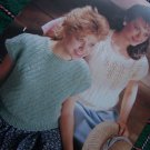 3 Retro Knitting Patterns Summer Knit Tops Diagonal Rib Eyelet Sampler Top 746 S M L XL