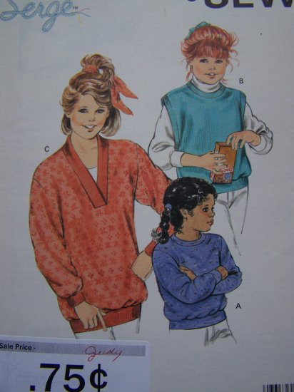 Girls Vintage Sewing Pattern Knit Sweater & Vest 8 10 12 14 Kwik Sew 1549
