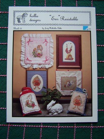 5 Retro Bunnies Cross Stitch Patterns Hollie Designs Book 25 1 Cent USA S&H