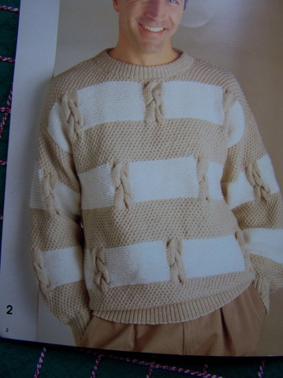 Vintage Mens & Misses Knitting Patterns Worsted Yarn Sweaters Vest Book 1235