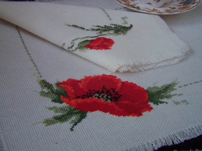 1 Cent USA S&H Cross Stitch Pattern Showers of Flowers Bright Red Poppies