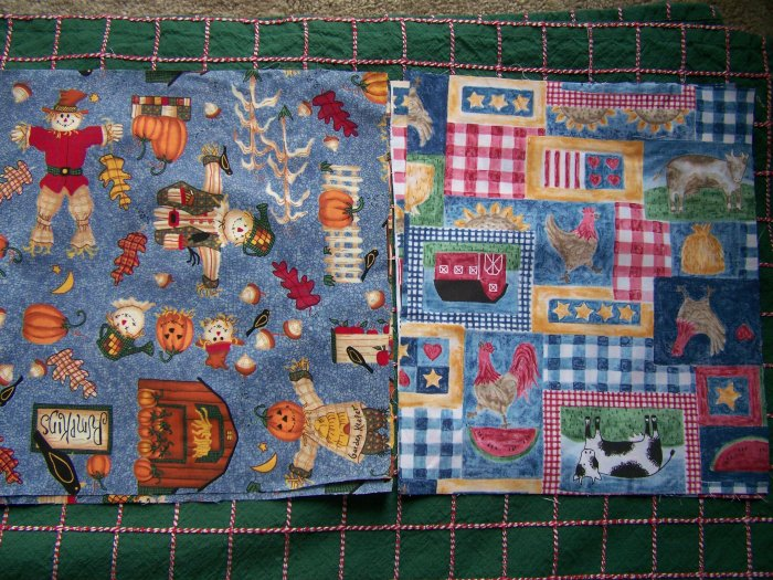 1 Cent USA S&H Cotton Fabric Lot Country Farm & Fall Halloween
