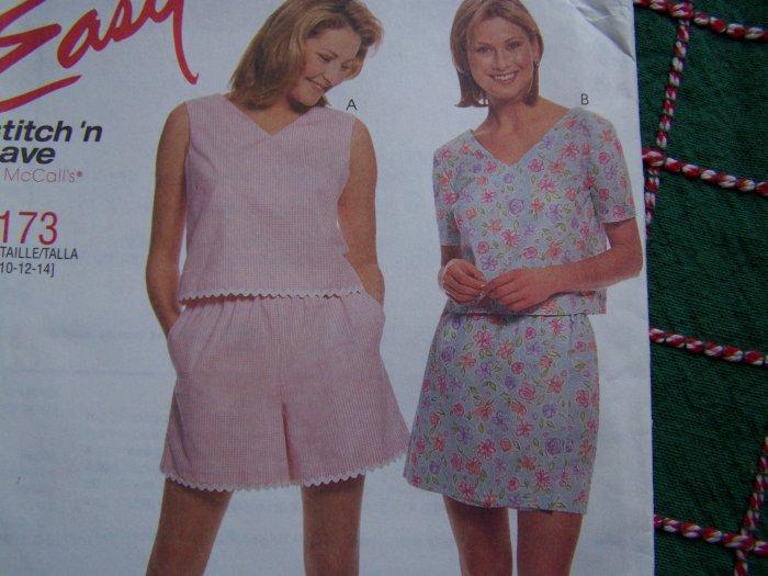 Misses Summer Sewing Pattern Crop Top Shorts Skort 2173 Sz 8 10 12 14