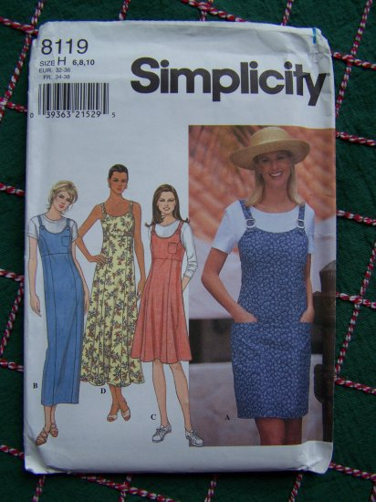 Misses Sewing Pattern 8119 Sundress Jumper Dress Princess Seams Gored Skirt 6 8 10