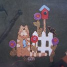 Felt Applique Pattern Penny Rug Blanket Stitch Miss Kitty's Garden Cats 2027