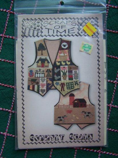 Scraps of Time Misses Fabric Applique Pattern Country Charm Vest S M L