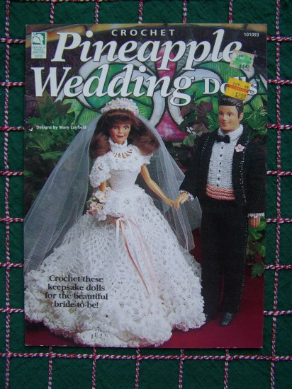 1 Cent USA S&H Barbie & Syndee Doll Wedding Gown Tuxedo Pineapple Crochet Patterns