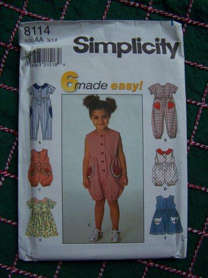 Toddler Sewing Pattern 8114 SUmer Wardrobe Jumpsuit Sun Romper Jumper Dress 1/2 1 2