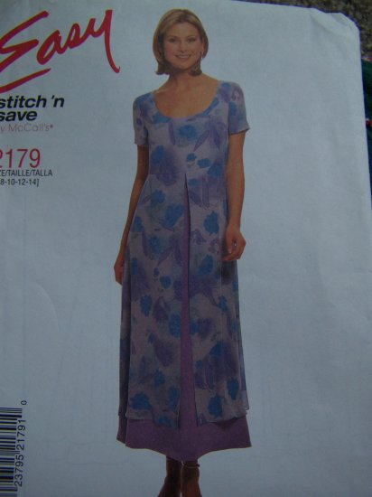 McCall's 2179 Pullover Summer Dress SS Back Ties Overskirt Sewing Pattern 2179 8 10 12 14