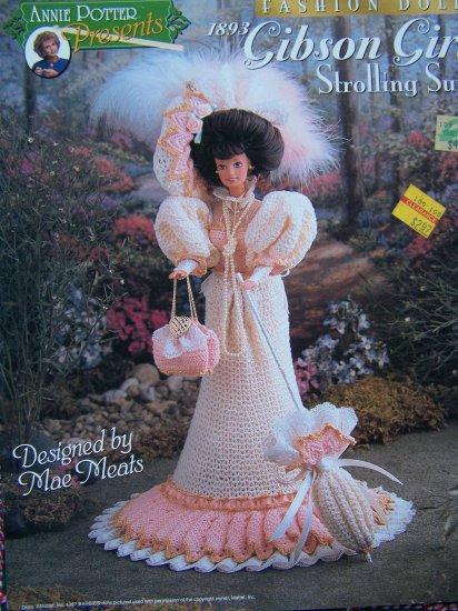 Annie Potter Crochet Barbie Doll Pattern 1893 Gibson Girl Strolling Suit