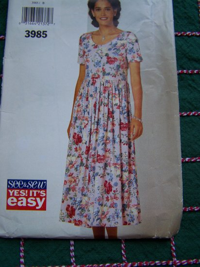 Butterick Sewing Pattern 3985 Misses Pullover Dress Raised Waist Above Ankle 12 14 16