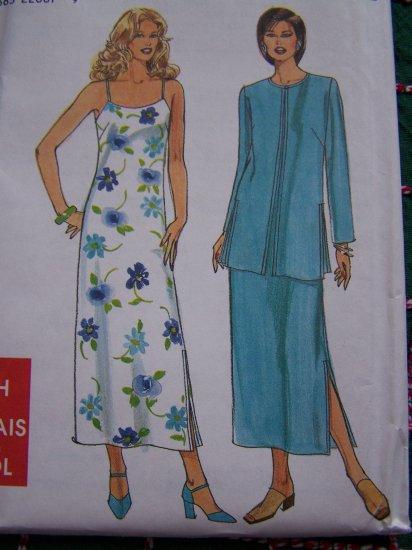 Simplicity Easy Misses Sewing Pattern Strap Sundress Side Slit Dress with Jacket 8562 Sz 6 - 16