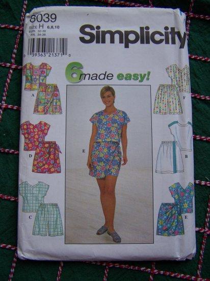 Simplicity 8039 Sewing Pattern Misses Summer Wardrobe Scrub Tops Shorts Sarong Tie Skorts 6 8 10