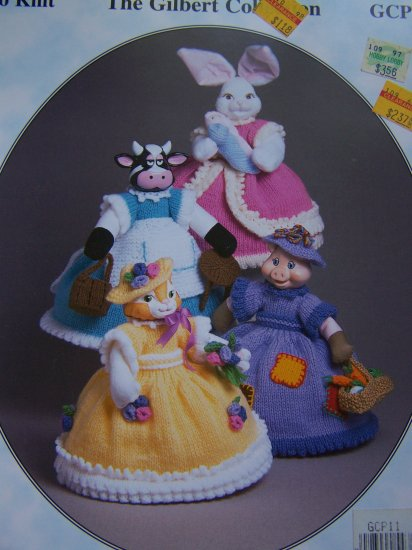 1 Cent USA S&H Craftime Barnyard Beauties Knitting Patterns Cat Cow Pig Rabbit & Clothing