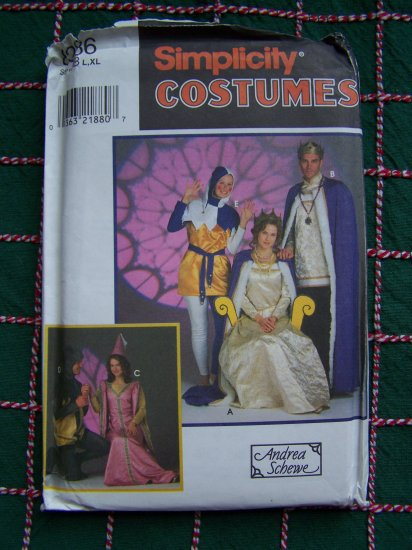 Adult L XL Medieval Costumes Halloween Reenactment Plays Dress Up Sewing Pattern 8286 Simplicity