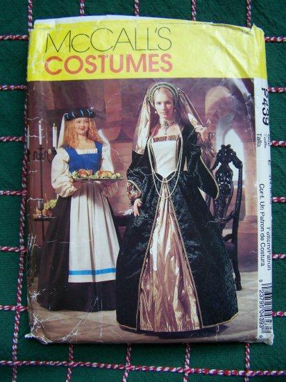 McCalls Sewing Pattern P439 Renaissance Costume Dress Veil Headpiece Gown 14 16 18
