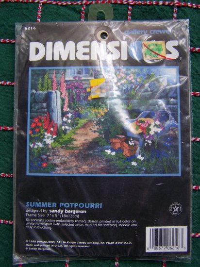 1 Cent USA S&H Dimensions Crewel Embroidery Craft Kit Summer Potpourri 6216