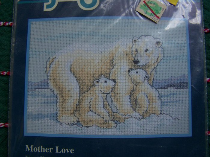 USA 1 Cent S&H Jiffy Counted Cross Stitch Craft Kit Mother Love Polar Bears & Twins 16670