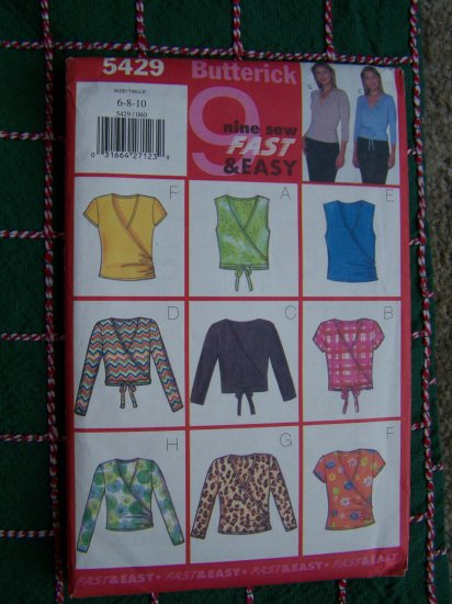 9 Easy Fast Sewing Patterns Surplice Mock Wrap Tops SHirts 5429 Sz 6 8 10