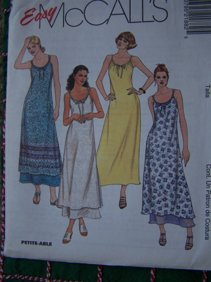 Long Summer Beach Dress Spaghetti Straps Sundress Slipdress Sew Pattern 8 10 12