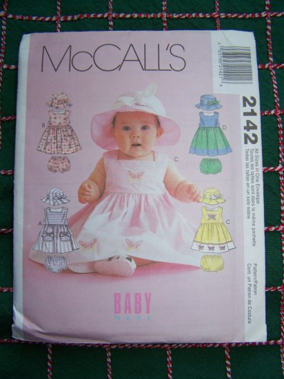 Infant Sewing Pattern Sundress Hat Panties Diaper Cover McCall's 2142 Sz S M L XL