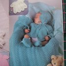 Crochet & Knitting Patterns Newborn 3 4 6 Months Layette Blanket Gown Bonnet Socks