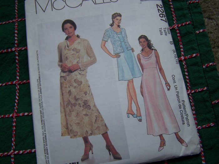 Bias Dress Sleeveless Sundress Cowl Drape Front Knit Fabric Jacket 8 10 12 McCall's 2267