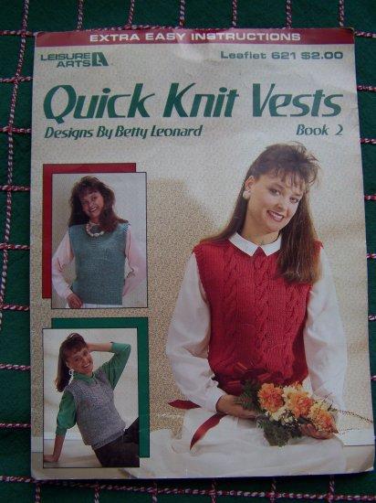 1 C USA S&H Vintage 80's Quick Knit Vests Patterns Cable Block Yoke Triangle Vest Leaflet S M L