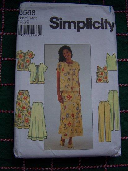 Misses 6 8 10 Sewing Patterns Summer Wardrobe Jacket Top Skirt Pants Sheer Overlay 8568