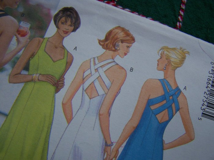 Penny S&H USA Misses Sewing Pattern 12 14 16 Evening Gown Short A Line Dress Strap Back 5542