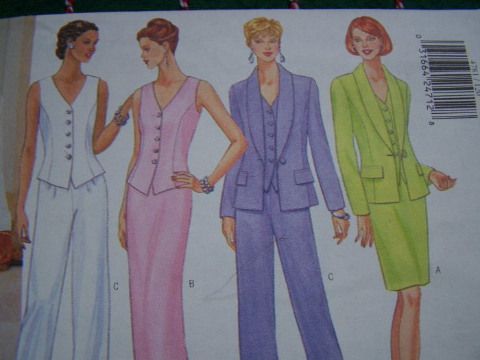 Butterick Classics Sewing Pattern Misses 12 14 16 Suit Jacket Vest Top Straight Short or Long Skirt