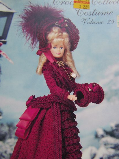Paradise Crochet Collector Costume Doll Pattern Bustle Skirt Jacket Muff Hat Boots