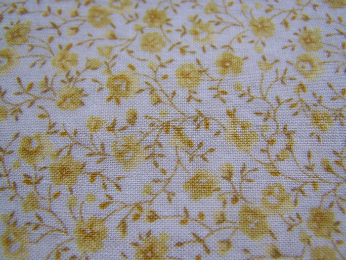 Vintage Cotton Fabric Country Florals Tiny Yellow Flowers Kesslers Material