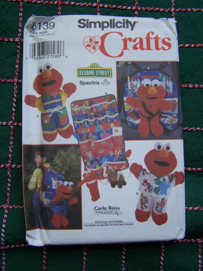 Tickle Me Elmo Clothing Sewing Pattern Car Seat Pjs Backpack Organizer 8139