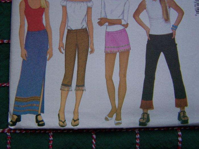Womens Sewing Pattern Low Riders Pants & Skirts Micro Mini Maxi Capri Plus Size 18 20 22