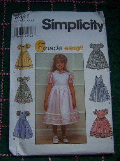 Girls 5 6 7 8 Sewing Pattern Flower Girl Fancy Dress Attached Slip Net Ruffle 8491