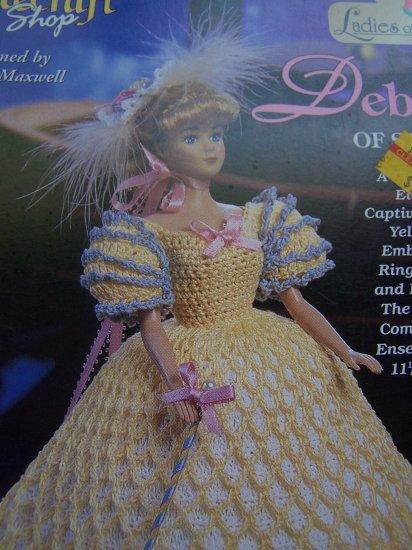 "Crochet Pattern Barbie Fashion Doll Dress Deborah of St Louis Gown Hat Parasol 11 1/2"" Dolls"