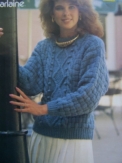 1 Cent USA S&H Misses Knitting Pattern Aran Pullover Sweater Sz 6 8 10 12 14 16